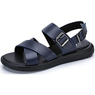 お買い得  メンズサンダル-メンズ 靴 レザー 夏 サンダル ウォーキング ベックル 用途 カジュアル ブラック ブルー