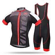 XINTOWN Herre Kortærmet Cykeltrøje og shorts med seler - Sort/Rød Cykel Tights Med Seler Trøje, Hurtigtørrende, Ultraviolet Resistent,