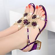baratos Sapatos Femininos-Mulheres Sapatos Pele Napa / Gliter Verão Sapatos clube Sandálias Salto Robusto Pedrarias Dourado / Roxo / Azul / Festas & Noite