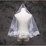 Uma Camada Borda com aplicação de Renda Véus de Noiva Véu Cotovelo Véu Ponta dos Dedos Com Apliques Renda Tule