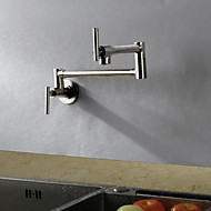 cheap Kitchen Faucets-Contemporary Art Deco/Retro Modern Standard Spout Tall/­High Arc Pot Filler Wall Mounted Rain Shower Rotatable Thermostatic Brass Valve