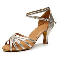 baratos Sapatilhas de Dança-Mulheres Sapatos de Dança Latina Sintético Salto Salto Personalizado Personalizável Sapatos de Dança Cinzento Claro / Vermelho / Azul