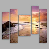 Недорогие -Ручная роспись Пейзаж Вертикальная панорама, Modern холст Hang-роспись маслом Украшение дома 5 панелей