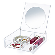 cheap Storage & Organization-Acrylic Transparent Portable Quadrate Cosmetics Makeup Storage Stand Box Cosmetic Organizer for Lipstick Eyeliner Nail Polish with Lid&Mirror