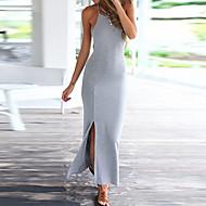 فستان نسائي ضيق / ثوب ضيق بدون ظهر طويل للأرض لون سادة مع حمالة مناسب للحفلات / شاطئ