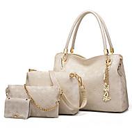 お買い得  バッグセット-女性用 バッグ PU バッグセット 4個の財布セット ファー のために オフィス&キャリア / アウトドア ゴールド / ホワイト / ブラック
