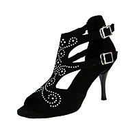 baratos Sapatilhas de Dança-Mulheres Sapatos de Dança Latina Flocagem Sandália / Salto Pedrarias / Presilha Salto Agulha Personalizável Sapatos de Dança Preto