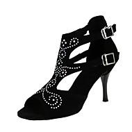 "cheap Latin Shoes-Women's Latin Flocking Sandal Heel Professional Rhinestone Buckle Stiletto Heel Black 1"" - 1 3/4"" 2"" - 2 3/4"" 3"" - 3 3/4"" 4"" & Up"