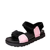 cheap Women's Sandals-Women's Sandals Gladiator PU Spring Summer Casual Dress Gladiator Split Joint Magic Tape Flat Heel Black Beige Green Blushing Pink Flat