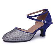 """billige Moderne sko-Dame Latin Glimtende Glitter Paljett Sandaler Ytelse Paljett Gummi Stiletthæl Rød Blå 2 """"- 2 3/4"""" Kan ikke spesialtilpasses"""