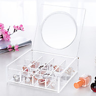 cheap Storage & Organization-Acrylic Transparent Portable Quadrate 3x4 Cosmetics Makeup Storage Stand Box Cosmetic Organizer for Lipstick Nail Polish with Lid&Mirror