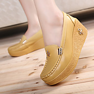 Women's Shoes Cowhide Spring Fall Creepers Loafers & Slip-Ons Creepers For Casual White Yellow Blue