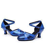 billige Moderne sko-Dame Moderne sko Paljett / Kunstlær Høye hæler Tvinning Kustomisert hæl Kan spesialtilpasses Dansesko Sølv / Rød / Blå
