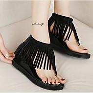 baratos Sapatos de Tamanho Pequeno-Feminino Sapatos Couro Ecológico Primavera Conforto Sandálias Para Casual Preto