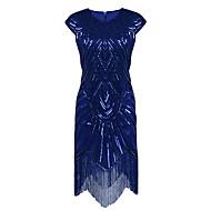kılıf / kolon mücevher boynu asimetrik polyester kokteyl partisi evde oyunculuk elbise ile pullar
