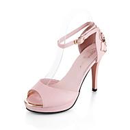 baratos Sapatos Femininos-Mulheres Sapatos Couro Envernizado / Couro Ecológico Verão / Outono Sapatos clube Sandálias Salto Baixo / Plataforma Peep Toe Presilha