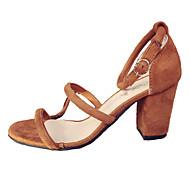 Mujer Zapatos PU Verano Tira en el Tobillo Sandalias Tacón Cuadrado Naranja / Amarillo fTfIbyanKx
