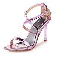 baratos Sapatos de Tamanho Pequeno-Mulheres Courino Primavera / Verão Conforto Sandálias Salto Agulha Dedo Aberto Presilha Roxo / Prateado / Vermelho