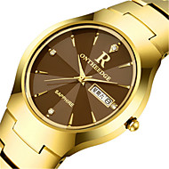 Men's Fashion Watch Quartz Calendar Alloy Band Black Silver Gold