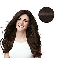 9pcs / set clip de luxo de 120g # 2 marrom escuro em extensões de cabelo 16inch 20inch 100% cabelo humano
