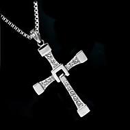 Herre Syntetisk Diamant Halskædevedhæng - Zirkonium, Simuleret diamant Kors Luksus, Mode Sølv Halskæder Til Bryllup, Fest, Daglig