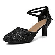 billige Moderne sko-Dame Dansesko Syntetisk Høye hæler Kustomisert hæl Kan spesialtilpasses Dansesko Svart / Sølv / Grå / Innendørs