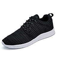 Men's Athletic Shoes Comfort Tulle Spring Summer Outdoor Casual Walking Lace-up Flat Heel Blue Gray Black Flat