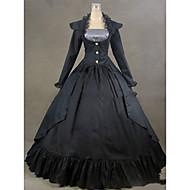 روكوكو فيكتوريا القرن ال 18 كوستيوم نسائي فساتين أزياء الحفلة حفلة تنكرية أسود عتيقة تأثيري ستان كم طويل كاب طول الأرض قياس كبير حسب الطلب