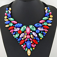 cheap -Women's Sapphire Crystal Pear Cut Bib Statement Necklace Bib necklace Crystal Statement Ladies Luxury European Shiny Red Green Blue Necklace Jewelry For Party Anniversary Birthday Daily