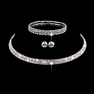 Dame Kvadratisk Zirconium Smykkesæt - Kvadratisk Zirconium, Sølv minimalistisk stil, Mode, Elegant Omfatte Armbånd / Kort halskæde / Ørering Sølv Til Bryllup / Fest / Jubilæum / Forlovelse