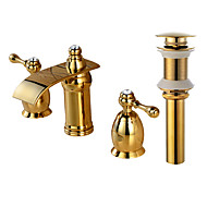 Widespread Waterfall Brass Valve Two Handles Three Holes Gold , Bathroom Sink Faucet