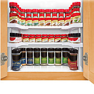 White Compartment Spicy Shelf Spice Rack And Stackable Organizer 2 Set