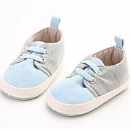 Bebek Ayakkabı Kumaş Bahar Sonbahar İlk Adım Düz Ayakkabılar Yürüyüş Alçak Topuk Yuvarlak Uçlu Sihirli Bant Uyumluluk Günlük Mavi
