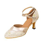 billige Moderne sko-Dame Moderne sko Sandaler / Høye hæler Gummi / Spenne / Blonder Kustomisert hæl Kan spesialtilpasses Dansesko Svart / Mandel