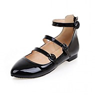 cheap Women's Flats-Women's Shoes Synthetic Patent Leather PU Summer Fall Comfort Novelty Flats Walking Shoes Flat Heel Pointed Toe Buckle for Wedding Casual