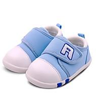 Bebek Ayakkabı Yapay Deri PU Bahar Sonbahar İlk Adım Düz Ayakkabılar Yürüyüş Alçak Topuk Yuvarlak Uçlu Sihirli Bant Uyumluluk Günlük Koyu