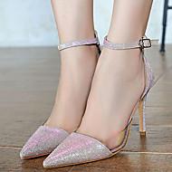 baratos Sapatos Femininos-Mulheres Sapatos Couro Envernizado Verão Casamento / Fashion / Sapatos clube Sandálias Salto Agulha Dedo Apontado Presilha / Combinação