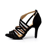 "cheap Dancewear & Dance Shoes-Women's Latin Dance Sneakers Salsa Flocking Sandal Indoor Professional Beginner Practice Buckle Stiletto Heel Black 2"" - 2 3/4"" 3"" - 3"