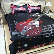red piano style printed queen size polyester and cotton bedding sets 4pcs bed sheet pillowcase duvet cover set