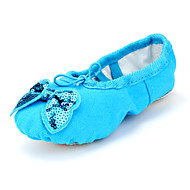 Kids' Ballet Canvas Flats Indoor Bow(s) Flat Heel Blushing Pink Blue Green Ruby Fuchsia