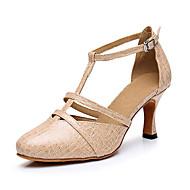 billige Moderne sko-Dame Latin Kunstlær Sandaler Joggesko Profesjonell Spenne Tykk hæl Svart Blå Naken 2 - 2 3/4inch Kan spesialtilpasses