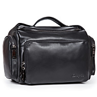 Men Bags All Seasons Cowhide Shoulder Bag Smooth for Business Casual Formal Work Office & Career School Date Black