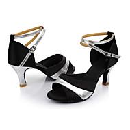 Χαμηλού Κόστους Παπούτσια χορού-Γυναικεία Παπούτσια χορού λάτιν Μετάξι Πέδιλα Προσαρμοσμένο τακούνι Εξατομικευμένο Παπούτσια Χορού Μαύρο και Ασημί / Εσωτερικό / Δέρμα