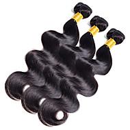 Gerçek Saç Hintli Saçı İnsan saç örgüleri Vücut Dalgası Saç uzatma 1 Parça Simsiyah