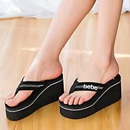 Feminino Sapatos Tecido Verão Chinelos e flip-flops Creepers Para Preto Vermelho