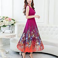 ieftine -Pentru femei Mărime Plus Size Concediu Șifon Swing Rochie - Imprimeu, Floral În V Midi