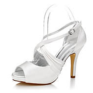 cheap Wedding Shoes-Women's Shoes Silk Summer Fall Heels Stiletto Heel Peep Toe Round Toe Buckle for Ivory