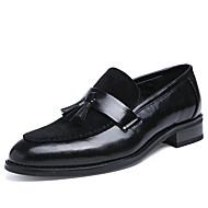Herrer Sko Læder Forår Sommer Efterår Vinter Bullock sko Formelle sko Oxfords Gang Lynlås Til Bryllup Afslappet Fest/aften Sort Mørkebrun