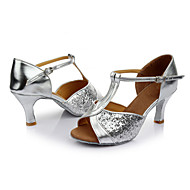 cheap Salsa Shoes-Women's Latin Shoes Paillette Sandal Indoor Sequin Customized Heel Customizable Dance Shoes Silver / Leather