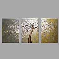Ready to Hang Stretched Hand-painted Oil Painting 3 Panels Canvas Wall Art White Blossom Flowers Tree